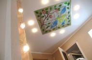 Отделочные работы - потолки из гипсокартона, витражи.